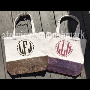 NEW custom monogram glitter tote